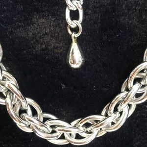 Fun silver rope link accent chain / choker